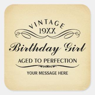 Personalice el cumpleaños divertido colcomanias cuadradas