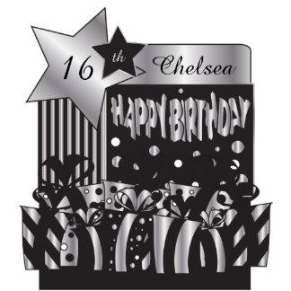 Personalice el cumpleaños en plata elegante y esculturas fotográficas