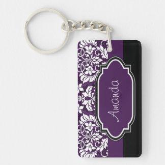 Personalice el damasco púrpura llavero rectangular acrílico a una cara