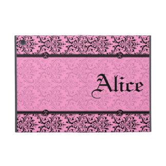 Personalice el damasco rosado y negro elegante del iPad mini cobertura
