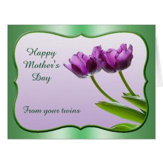 """Personalice: El """"día de madre feliz de sus gemelos Tarjeta De Felicitación Grande"""