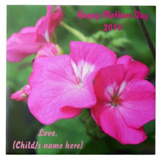 Personalice el día de madres feliz azulejo cuadrado grande