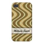 Personalice el diseño de la onda del oro iPhone 4 protectores