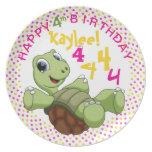 PERSONALICE el feliz cumpleaños de la tortuga Plato De Cena