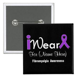Personalice el Fibromyalgia púrpura de la cinta Pin Cuadrado