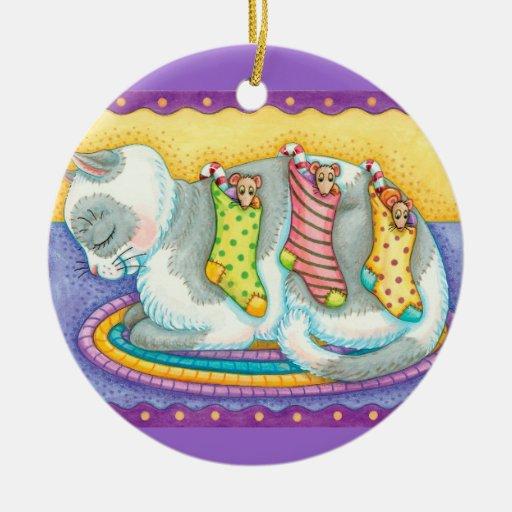 Personalice el gato del arte y el ornamento del adorno navideño redondo de cerámica