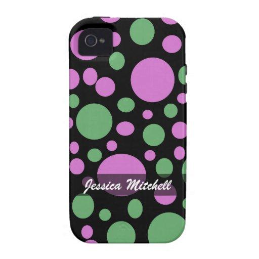 Personalice el modelo de puntos verde rosado iPhone 4 carcasas