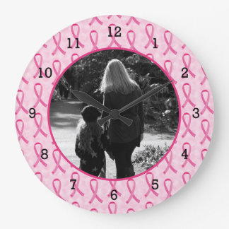 Personalice el monumento del cáncer de pecho reloj de pared