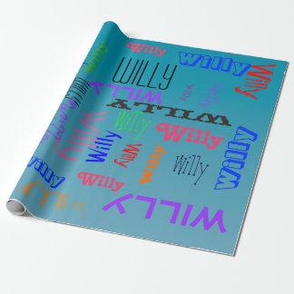 Personalice el nombre crean el agua azul del papel de regalo