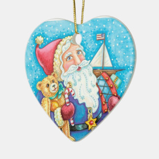 Personalice el ornamento del arte popular del adorno navideño de cerámica en forma de corazón