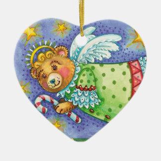 Personalice el ornamento del arte popular del oso adorno navideño de cerámica en forma de corazón