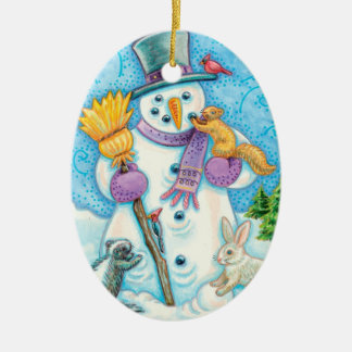 Personalice el ornamento del navidad de Papá Noel Adorno Navideño Ovalado De Cerámica