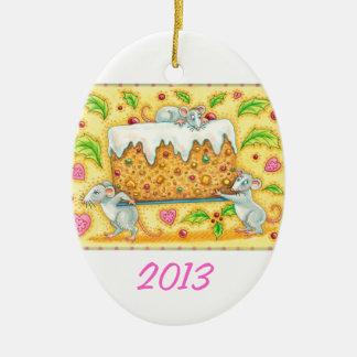 Personalice el ornamento del navidad del arte adorno navideño ovalado de cerámica