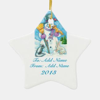 Personalice el ornamento del navidad del muñeco de adorno navideño de cerámica en forma de estrella