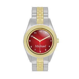 Personalice el oro y de color rojo oscuro con los reloj