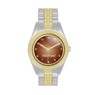 Personalice el oro y el cobre con los números relojes de mano