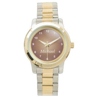 Personalice el oro y el cobre con los números reloj de mano