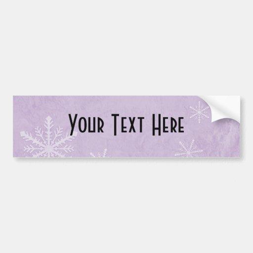 PERSONALICE el papel 3 del copo de nieve - púrpura Etiqueta De Parachoque