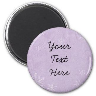 PERSONALICE el papel 3 del copo de nieve - púrpura Imán Redondo 5 Cm