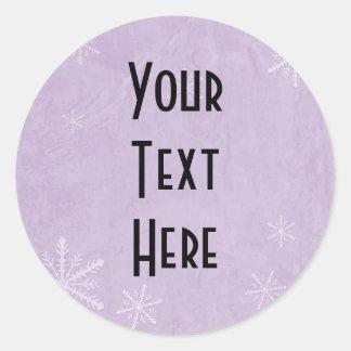 PERSONALICE el papel 3 del copo de nieve - púrpura Pegatina Redonda