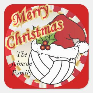 Personalice el voleibol de las Felices Navidad Calcomanía Cuadradas Personalizadas