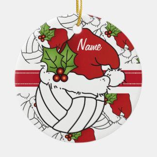 Personalice el voleibol del navidad del gorra de adorno navideño redondo de cerámica