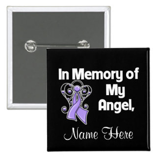 Personalice en memoria de mi general Cancer del án Pin Cuadrada 5 Cm
