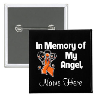 Personalice en memoria de mi leucemia del ángel pin cuadrada 5 cm