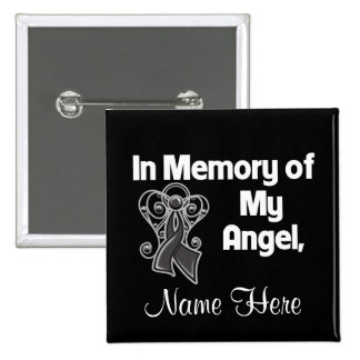 Personalice en memoria de mi melanoma del ángel pin cuadrado