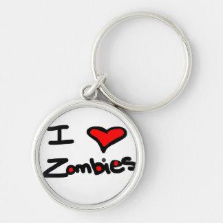 """Personalice esto """"yo los zombis del corazón!"""" llavero redondo plateado"""