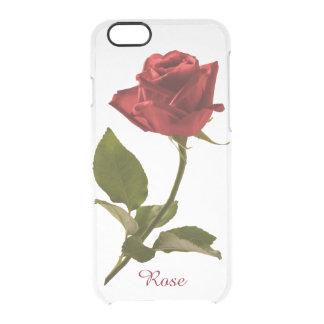 Personalice: Imagen floral del rosa rojo Funda Clear Para iPhone 6/6S