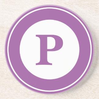 Personalice: Inicial púrpura minimalista Posavaso Para Bebida