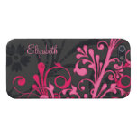 Personalice la caja floral negra rosada conocida d iPhone 5 cárcasas