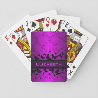 Personalice la mariposa negra púrpura hermosa barajas de cartas