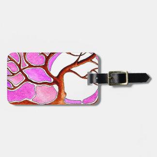 Personalice la pluma y el árbol de la tinta - rosa etiqueta de equipaje