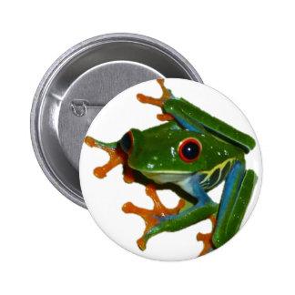 Personalice la rana observada rojo de Costa Rica Pin Redondo De 2 Pulgadas