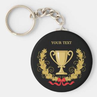 Personalice la taza del trofeo [oscura] llavero redondo tipo pin