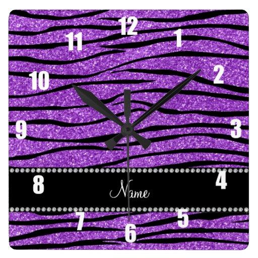 Personalice la tira púrpura en colores pastel cono reloj cuadrado