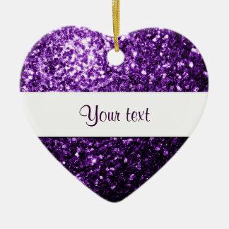 Personalice las chispas púrpuras hermosas del adorno navideño de cerámica en forma de corazón
