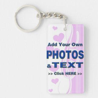 personalice las fotos que el texto añade imágenes  llavero