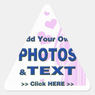 personalice las fotos que el texto añade imágenes pegatina triangular