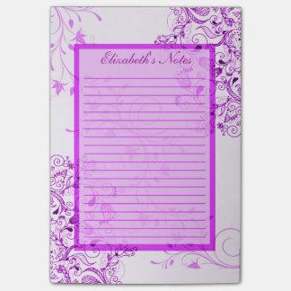 Personalice las notas blancas púrpuras para mujer