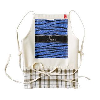 Personalice las rayas azules conocidas de la cebra delantal zazzle HEART
