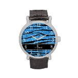 Personalice las rayas azules en colores pastel con relojes de pulsera