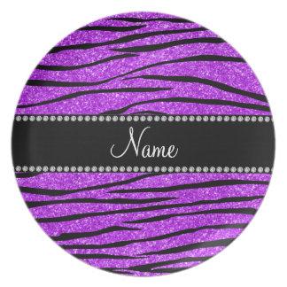 Personalice las rayas púrpuras de neón conocidas d platos de comidas