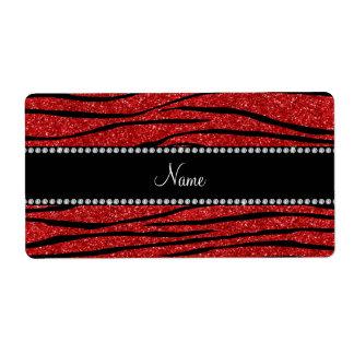 Personalice las rayas rojas conocidas de la cebra etiqueta de envío