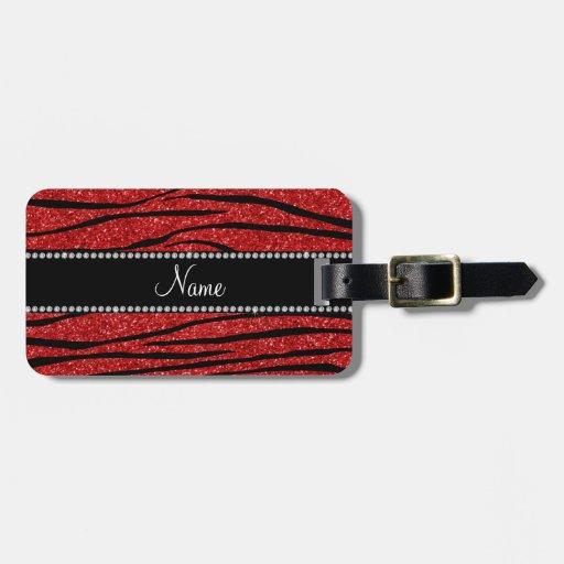 Personalice las rayas rojas conocidas de la cebra  etiquetas maletas