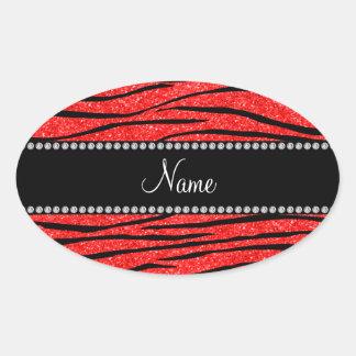 Personalice las rayas rojas de neón conocidas de l colcomanias oval personalizadas