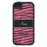 Personalice las rayas rosadas conocidas de la cebr iPhone 5 Case-Mate carcasas