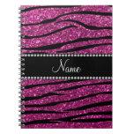 Personalice las rayas rosadas conocidas de la cebr cuadernos